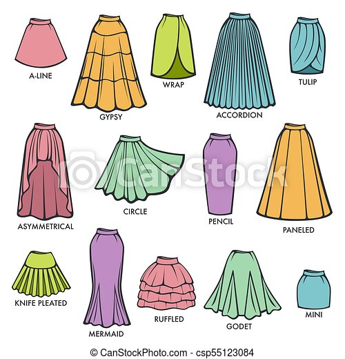 4422cdafa136af Woman skirt type models collection vector female dress skirts style  isolated cons - csp55123084