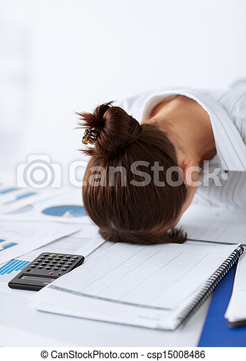 woman sleeping at work in funny pose - csp15008486