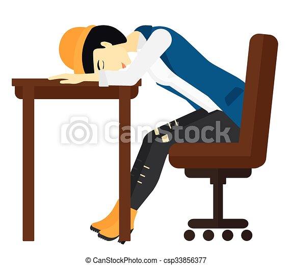 Woman sleeping on table. - csp33856377