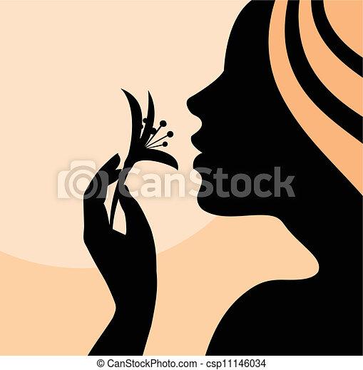 Woman smelling flower- profile - csp11146034