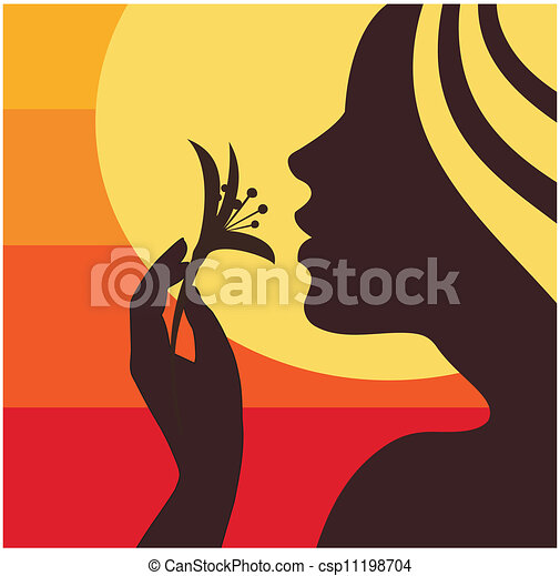 Woman smelling flower - csp11198704