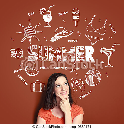 woman smiling thinking of her summer vacation - csp19682171