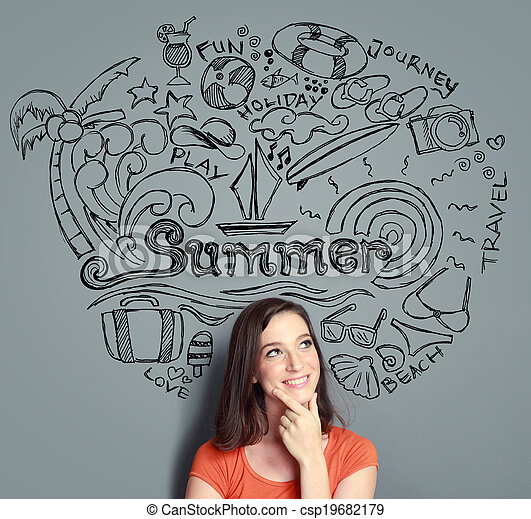 woman smiling thinking of her summer vacation - csp19682179