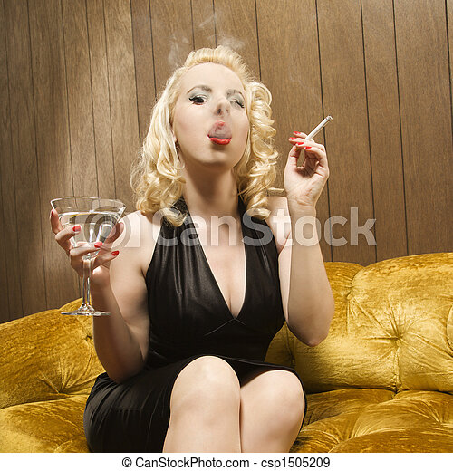 Woman smoking. - csp1505209