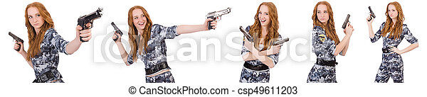 Woman soldier isolated on white - csp49611203