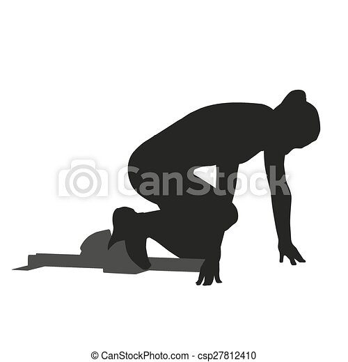 Woman sprinter leaps from starting block. Vector silhouette - csp27812410
