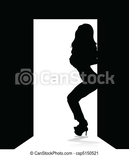 woman standing by a door - csp5150521