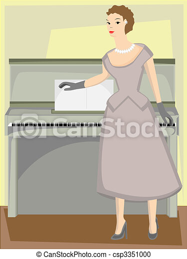 Woman standing by piano in formal gown - csp3351000