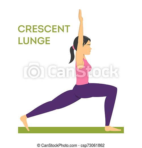 woman standing in crescent lunge yoga pose female