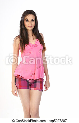 woman standing in pink dress - csp5037287