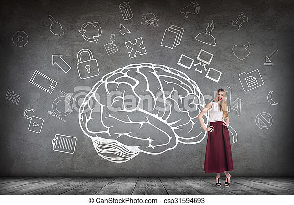 Woman stands beside big drawn brain - csp31594693