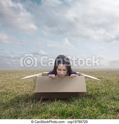Woman stuck in box - csp19789729