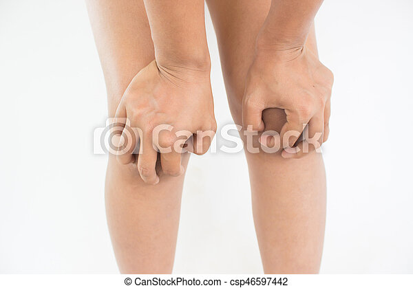 Woman suffering from knee pain - csp46597442
