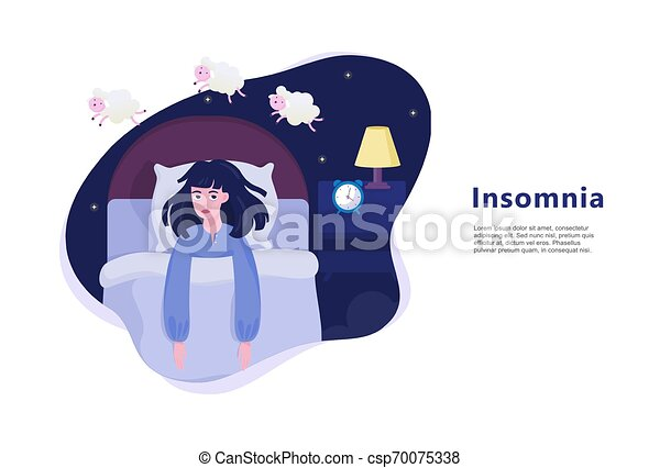 Woman suffering from the insomnia. Girl with no sleep - csp70075338