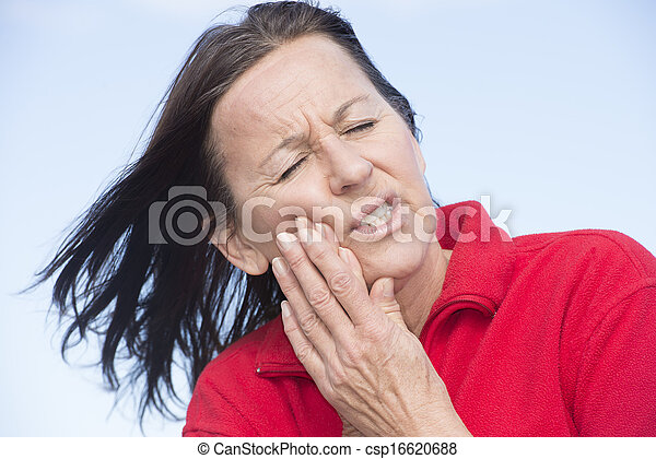 Woman suffering painful toothache - csp16620688