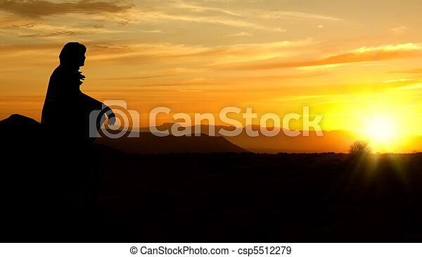 woman sunset silhouette_rough edges rectified - csp5512279