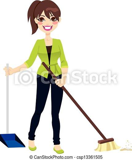 Woman Sweeping Floor - csp13361505