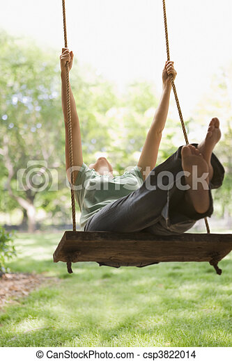 Woman Swinging on Swing - csp3822014