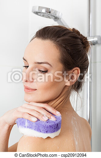 Woman taking a shower - csp20912094