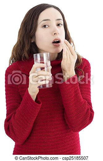 Woman taking medication - csp25185507