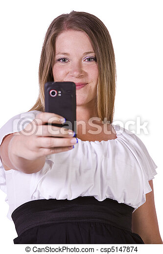 Woman taking  pictures from her cell phone - csp5147874