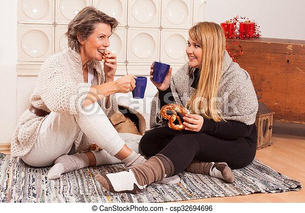 woman talk between generations - csp32694696
