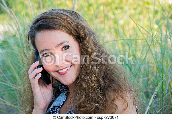 woman talking on cellphone - csp7273071