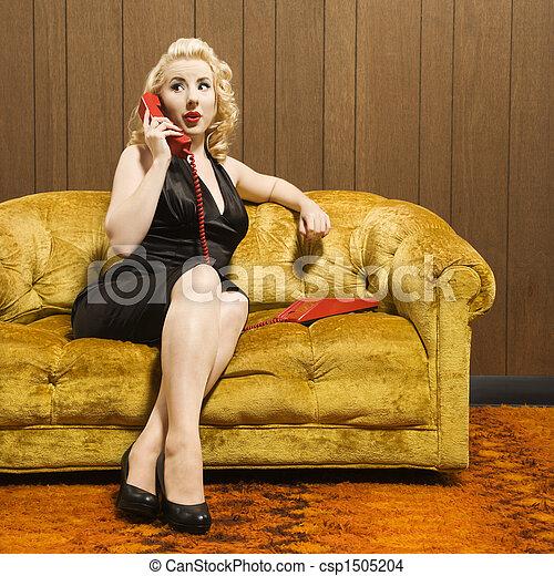 Woman talking on phone. - csp1505204