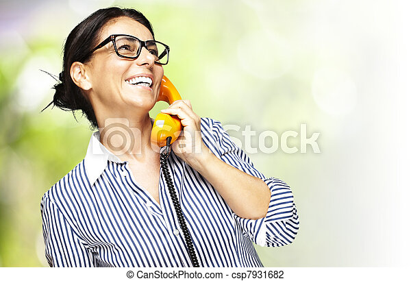 woman talking on telephone - csp7931682
