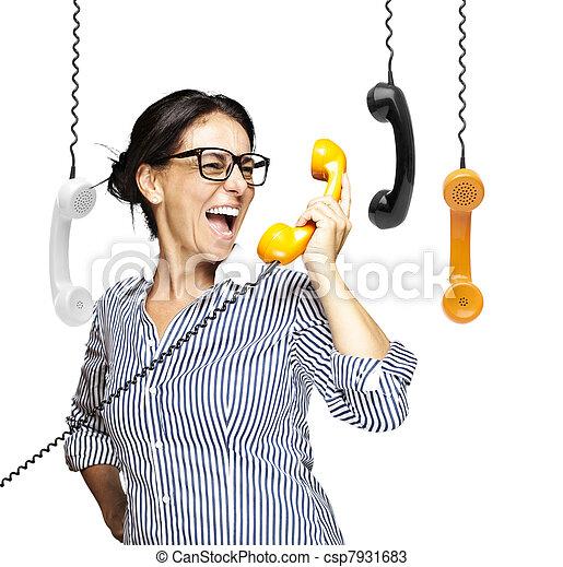 woman talking on telephone - csp7931683
