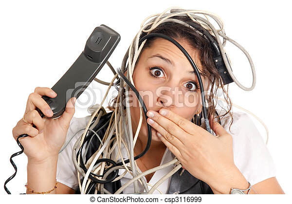 woman tangled in cables - csp3116999