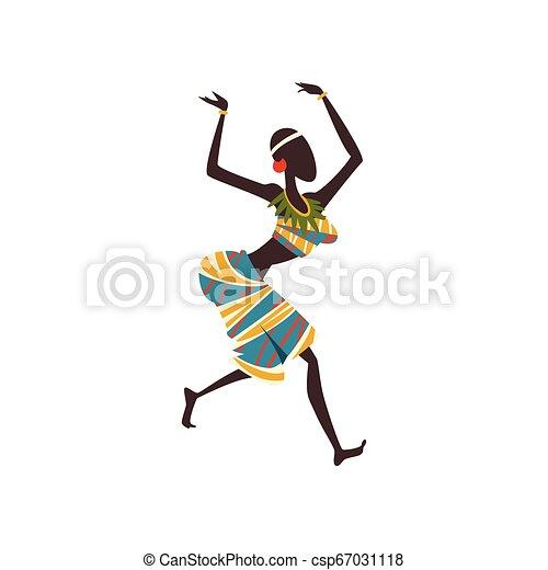 Afrikanische Mädchen tanzen Folk oder rituelle Tanz, weibliche Aboriginal Tänzerin in traditioneller ethnischer Kleidung Vektor Illustration - csp67031118