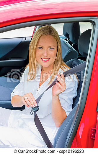 woman taped and reeled on before driving - csp12196223