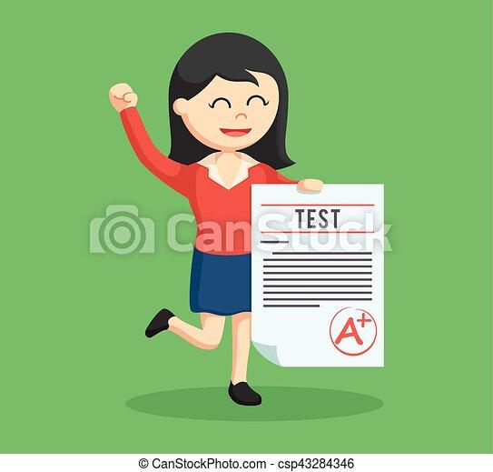 woman teacher with a grade test - csp43284346