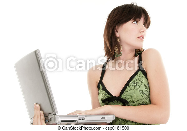Woman Teen Computer - csp0181500