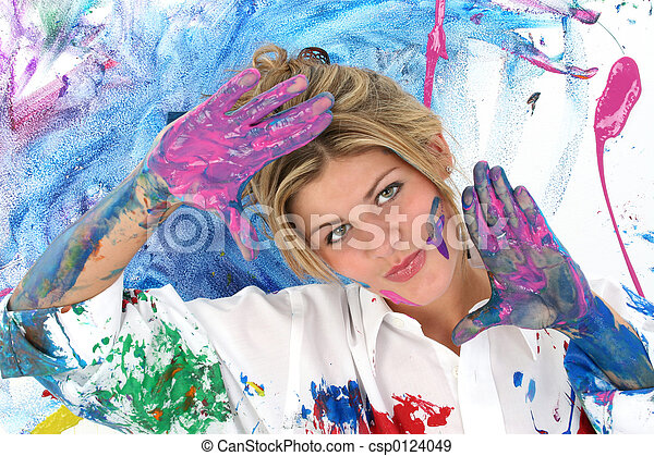 Woman Teen Painting - csp0124049