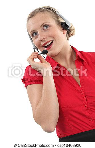 Woman telemarketer - csp10463920