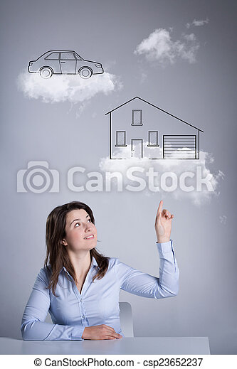 Woman thinking about her future - csp23652237