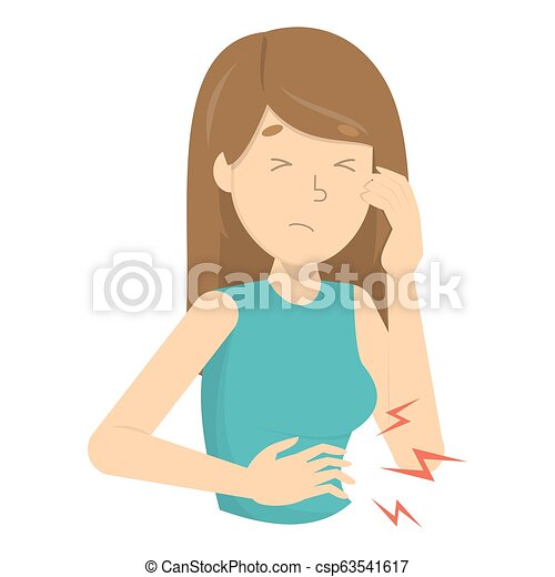 Woman touching stomach and suffer from abdomen pain. - csp63541617