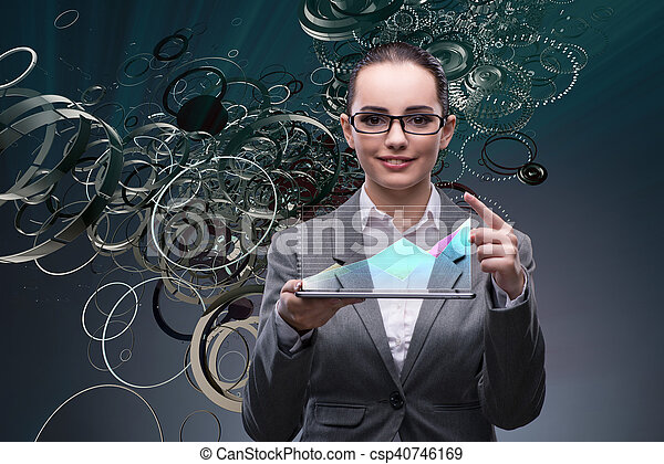 Woman trader with tablet and chart - csp40746169