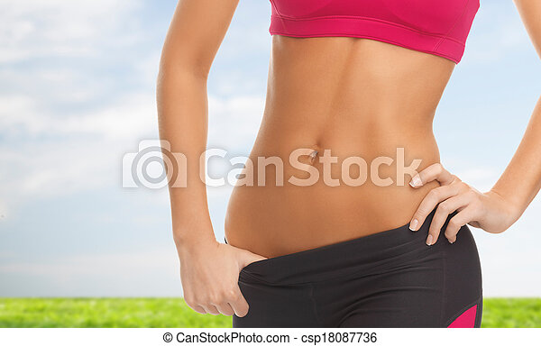 woman trained abs - csp18087736