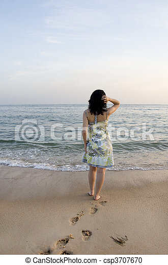 woman tries the water - csp3707670