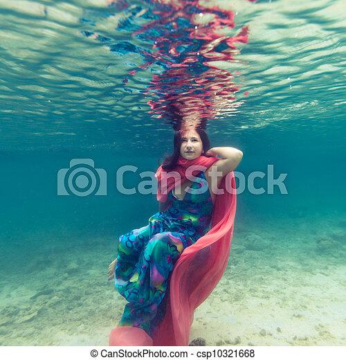 Woman underwater - csp10321668