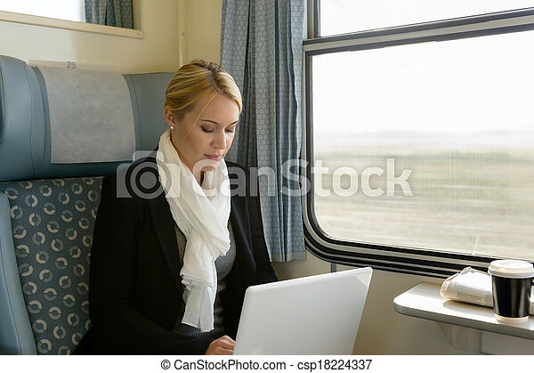 Woman using laptop traveling by train commuter - csp18224337