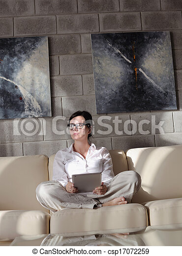 woman using tablet pc at home - csp17072259