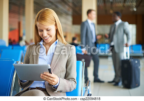 Woman using touchpad - csp22094818