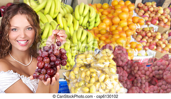 Woman, vegetables and fruits - csp6130102