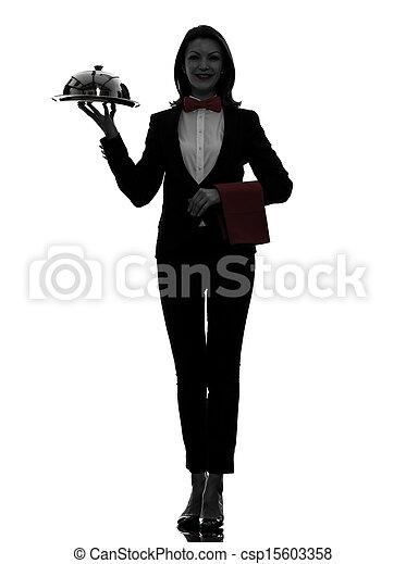 woman waiter butler serving dinner silhouette - csp15603358
