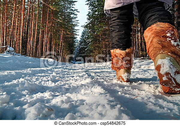 Woman walking in the winter - csp54842675