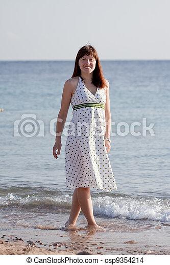 woman walking  on  sea  beach - csp9354214